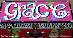 The Blackberry Vine: Custom Painted Trunk - Grace Camp Trunks, Painted Trunk, How To Be Graceful, Gifts For Photographers, Square Photos, Flash Photography, Simple Bags, Happy Campers, Sleepover