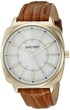 Nine West Women's NW/1728WMHY Swarovski Crystal Accented Gold-Tone and Honey Brown Leather Strap Watch >>> More info could be found at the image url.