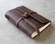 Leather Journal or Sketchbook  Dark Brown door badgerandchirp