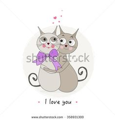 Happy valentine's day with cats couple greeting card