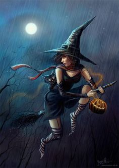 ~o~ Halloween Witch ~o~ Full view please! Halloween still seemed s. Fantasy Witch, Witch Art, Fantasy Books, Fantasy Art, Dark Fantasy, Spooky Halloween, Vintage Halloween, Happy Halloween, Halloween 2016