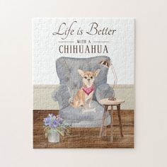 Life Is With A Chihuahua Jigsaw Puzzle   chocolate chihuahua, baby chihuahua puppies, pomeranian chihuahua #chihuahuapoodlemix #chihuahuatoys #chihuahuapacifico Chihuahua Tattoo, Chihuahua Puppies, Cleaning Wipes, Jigsaw Puzzles, Place Card Holders, Terrier, Artist, Prints, Life