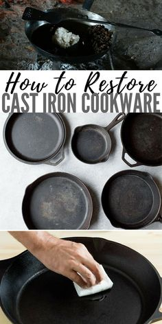 Cast Iron How to Use, Clean, and Love Your Cast Iron Cookware No need to be afraid of cast iron! Cast iron cookware will never let you down, is incredibly versatile, and will grow old with you if you take care of her. Cast Iron Skillet, Cast Iron Cooking, Cleaning Cast Iron Pans, Restore Cast Iron, Cast Iron Care, Electric Skillet Recipes, Dutch Oven Cooking, Cast Iron Recipes, Camping Meals
