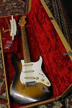 The 1957 Fender Stratocaster is considered one of true classic Stratocasters. Fender switched from Ash to Alder as their primary body wood in so is Fender Stratocaster, Fender Guitars, Bass Guitars, Fender Relic, Acoustic Guitars, Music Guitar, Guitar Amp, Cool Guitar, Playing Guitar