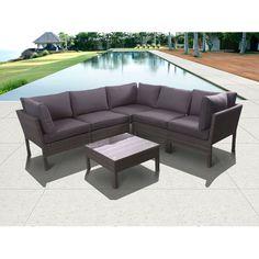 Atlantic Infinity Grey Six Piece Wicker Seating Set With Grey Cushions International Home $1677.95