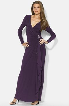 """Ordered this from Nordstrom & Ralph lauren in the purple and in the dark gray, love love love the fabric, draping, fit, comfort.  THIS is my dress, just need to decide on the color.  Lauren Ralph Lauren Long Faux Wrap Matte Jersey Dress available at #Nordstrom. Color is """"nocturnal purple"""".  Love the draping, esp down the skirt, love the glittery side detail.  Long sleeves, maybe shorten for a summer wedding?  Would definitely need Spanx!"""
