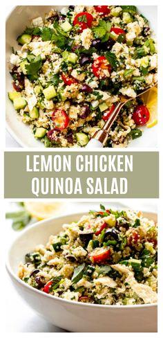 Meal prep lemon chicken quinoa salad with healthy veggies, lean protein, and zesty vinaigrette quinoasalad mealprep chicken chickensalad chickenrecipes greekchickensalad mediterraneansalad 654288652093560764 Quinoa Salat Feta, Chicken Quinoa Salad, Greek Chicken Salad, Chicken Salad Recipes, Healthy Salad Recipes, Greek Quinoa Salad, Smoothie Recipes, Mediterranean Quinoa Salad, Chicken Salads