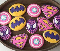 Girl Superhero Cookies 1 dozen by MJCookiesConfections on Etsy Superhero Cookies, Girl Superhero Party, Batman Party, 6th Birthday Parties, 4th Birthday, Birthday Ideas, Cake Birthday, Bday Girl, Girly