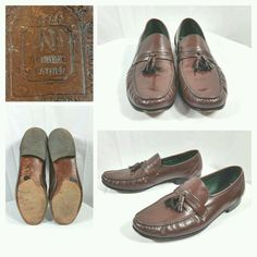 NETTLETON Brown Leather Shoes/Loafers Slip On w/Tassel Size 12M #Nettleton #LoafersSlipOns