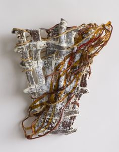 """Nancy Cohen """"Retained"""" 2017 glass, wire, and handmade paper 16 x 13 x 4 in."""