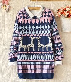 Royal Blue Long Sleeve Deer Geometric Pattern Sweater