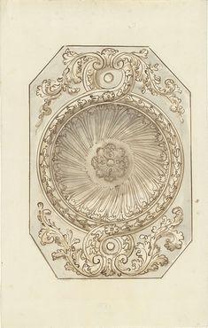 Elias van Nijmegen | Ornamentaal plafondontwerp in achtkant, Elias van Nijmegen, 1677 - 1755 |