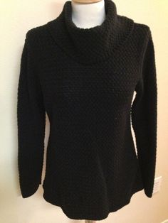 Dana Buchman Signature LARGE sweater BLACK turtleneck waffle knit long cotton #DanaBuchman #TurtleneckMock