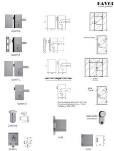 Graze-Stainless steel glass door lock manufacturer[GL007A,B,C,D,H-7A,B] Glass Door Lock, Lock Set, Door Detail, Door Hinges, Door Locks, Shower Doors, Stainless Steel, Building, Gate Locks