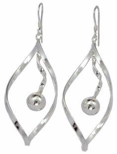 Oval Twist Dangling 6mm Ball Sterling Silver French Wire Earrings [ISE0014] #BKGjewelry #DropDangle