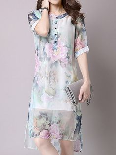 Vintage Women Printed Short Sleeve Chinese Style Dresses Shopping Online - NewChic Mobile.