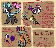 Touch Tablet Cats - Open Species by on DeviantArt Creature Drawings, Animal Drawings, Cute Drawings, Random Drawings, Cute Creatures, Magical Creatures, Drawing Reference, Drawing S, Drawing Ideas