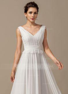 Corte A/Princesa Escote en V Hasta el suelo Chifón Vestido de novia con Lazo(s) Cascada de volantes (002068150)