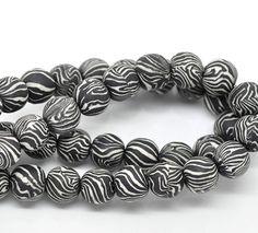 Zebra Print Clay Beads Strand