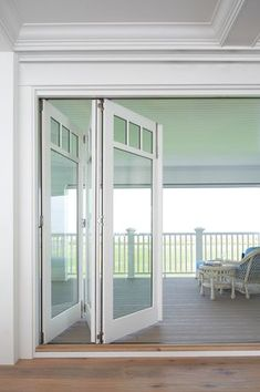 Windows, of course, open up the world outside. Invite the outdoors inside with sliding or folding glass doors. Indoor-outdoor living is seamless when you incorporate these into your home for access to porches, decks, pools and vistas. They can be rimless House With Porch, Indoor Outdoor Living, Patio Doors, Windows And Doors, Casement Windows, House Windows, Architecture, Sliding Doors, French Doors