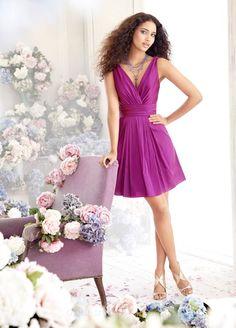 Taffeta Sleeveless V-neck A-line Knee Length Bridesmaid Dress