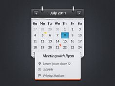 Calendar / event preview psd ui template