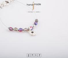Γυναικείο βραχιόλι με κρύσταλλα και ασημί διακοσμητικό. #handmade #jewelry #fashion
