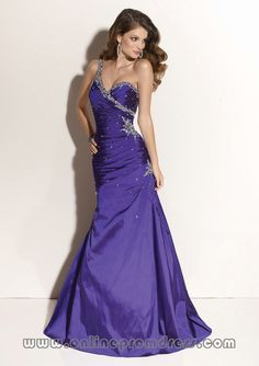One Beaded Shoulder Slim Long Purple Prom Dresses Designer...dress change gown