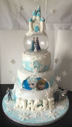 Disney frozen 3 tier cake I made for my niece for her frozen themed birthday party ❄️