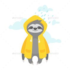 Buy Sloth in Raincoat by Skathi on GraphicRiver. Vector cartoon style illustration of cute sloth character in yellow raincoat, isolated on white background. Rainy Day Drawing, Sloth Drawing, Yellow Raincoat, Cute Sloth, Web Design, Animal Paintings, Cartoon Styles, Spirit Animal, Cute Wallpapers