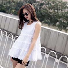 6415be5402d9c2 Summer Sleeveless Lace Blouse For Women O Neck Casual Front Pleated  Feminine Blusas Camisa Vest Cami Lace Tank Top Shirt White -in Blouses    Shirts from ...