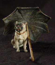 "Vienna Bronze - c. 1900 Leatherwood Antiques - Pug with Umbrella, 1 1/2"" tall"