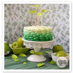 Tarta de manzana verde con degradado