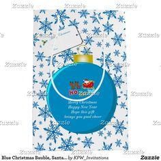 Blue Christmas Bauble, Santa & Sleigh Snowflakes Medium Gift Bag