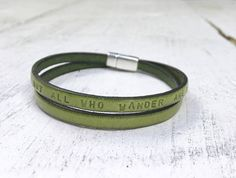 Personalized Graduation Gift Mantra Band Leather Bracelet.
