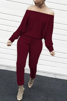 Lovely Casual Dew Shoulder Blending Wine Red One-piece Jumpsuit We Offer Top Good Quality Cheap Clothes For Women And Men Clothing Wholesaler, Get Affordable Clothing At Worldwide. Off Shoulder Jumpsuit, Jumpsuit With Sleeves, Cute Casual Outfits, Chic Outfits, Fashion Outfits, Party Outfits, Cheap Fashion, Womens Fashion, Fashion Ideas