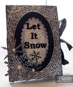 Debra Shaw - Die'sire Christmas Accordion dies - Oval base, Christmas Carol overlay - Matt Black card - Pebeo Silver Gilding wax - Collall Tacky glue, Collal All Purpose Glue - Stick It sheet - Glitter, Ribbon, Gems - #crafterscompanion #Christmas