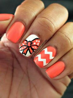 Orange and White Nails #bow #chevron