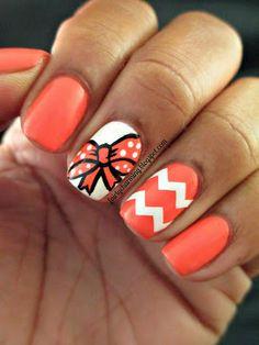 Orange and White Nails #bow #chevron