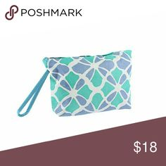 """Flower Geometric Blue Turquoise Cosmetic Bag Size:?6"""" L x 8"""" W x 2.5"""" Deep Style:?Canvas like cosmetic bag with flower geometric print and wrist strap. Zipper closure. Bags Cosmetic Bags & Cases"""