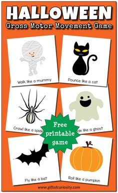 Halloween gross motor movement game {free printable} - Gift of Curiosity Halloween Theme Preschool, Halloween Activities For Toddlers, Halloween Week, Halloween Music, Gross Motor Activities, Autumn Activities, Preschool Crafts, Halloween Printable, Toddler Halloween Activities