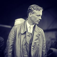 Charles Lindbergh at Candler Field after flying the Spirit of St. Louis over downtown Atlanta in 1927.