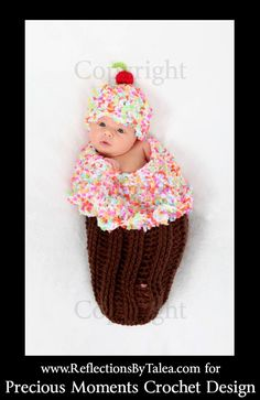 Frosted CUPCAKE with Sprinkles Cocoon and Beanie Hat Set Crochet Newborn Baby Photo Prop. $52.00, via Etsy.