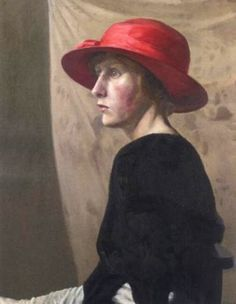 ▴ Artistic Accessories ▴ clothes, jewelry, hats in art - Hilda Carline | Woman in a Red Hat, 1922