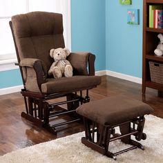 Baby Rocking Chair Glider With Ottoman Cushioned Soft Seat Nursery Nap Espresso…