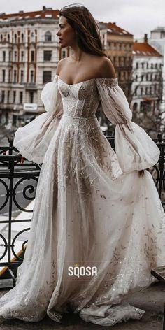 Unique Off-the-Shoulder Long Sleeves Appliques Bohemian Wedding Dress QW2705 Wedding Goals, Wedding Planning, Dream Wedding, Wedding Day, Forest Wedding Venue, Wedding Venues, Bridal Gowns, Wedding Dresses, Dream Dress