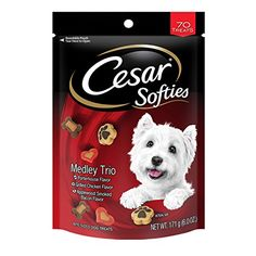 CESAR SOFTIES Medley Trio Dog Treats - 6 oz. 70 Treats (Pack of 8) - Dogs can't resist that fresh-off-the-grill taste in our gourmet dog treats! That's why we made CESAR SOFTIES Medley Trio Treats for Dogs, the deliciously soft, bite-size dog treat featuring delicious porterhouse steak flavor, grilled chicken flavor and applewood smoked bacon flavor. CESAR Treats ...