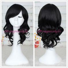 Fashion women Medium long Black curly wavy Synthetic cosplay party wig CC60C #CCWIG #FullWig