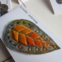 Jackie Cardy Textiles - Golden starry beech leaf brooch