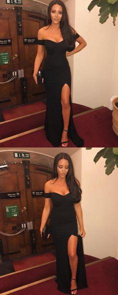 black off shoulder prom party dresses with split, fashion formal evening gwosn, #dresses